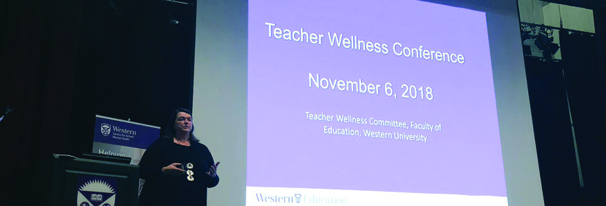 Dr. Susan Rodger introduces the importance of wellness among participating Teacher Candidates at the Teacher Wellness Conference